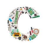 Electronic components letter. Letter 'C' made of electronic components isolated in white background Royalty Free Stock Photo