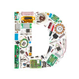 Electronic components letter. Letter 'D' made of electronic components isolated in white background Royalty Free Stock Image