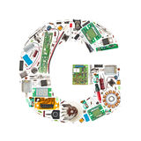 Electronic components letter Stock Photos