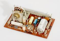 Electronic components on the motherboard Royalty Free Stock Photo