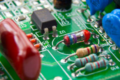 Electronic components mounted on a motherboard Royalty Free Stock Images