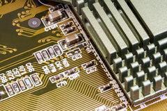 Electronic components on a obsolete printed-circuit board Royalty Free Stock Photography