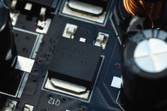 Electronic components on the printed-circuit board Royalty Free Stock Photo