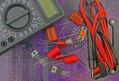 Electronic components on printed circuit board Stock Images