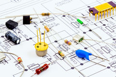 Electronic components ready for assembly. According to the scheme Royalty Free Stock Photo