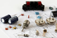 Electronic components. Some electronic components on a printed circuit scheme royalty free stock images