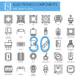 Electronic components , thin line icons set. Pixel perfect icons Stock Photos