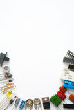 Electronic components on white background Royalty Free Stock Photo