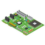 Electronic Computer Board Isometric View. Vector. Computer Electronic Circuit Board Isometric View Technology Equipment Device Concept. Vector illustration Royalty Free Stock Photography