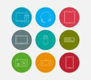 Electronic computer device icons set Stock Photos