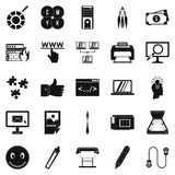 Electronic computer icons set, simple style Royalty Free Stock Images