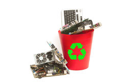 Electronic and computer parts trash. In recycle bin Stock Image