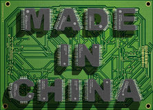 Electronic concept. Electronic circuit board with text `Made in China`. 3d illustration vector illustration
