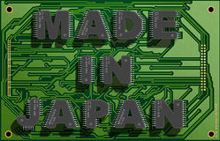Electronic concept. Electronic circuit board with text `Made in Japan`. 3d illustration vector illustration