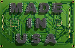 Electronic concept. Electronic circuit board with text `Made in USA`. 3d illustration stock illustration