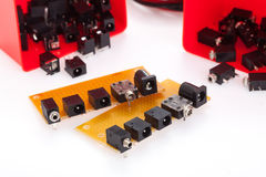 Electronic connector on printed circuit board Stock Photo