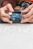 Electronic construction on base of Arduino UNO Stock Photos