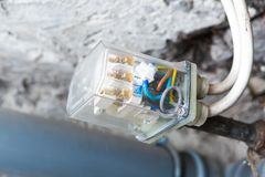 Electronic controller of water tank in home Stock Photo