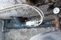 Electronic controller of water tank in home Stock Photography