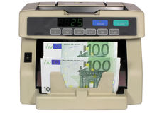 Electronic currency counter with euro Royalty Free Stock Image