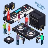 Electronic Dance Music Composition. Music recording studio equipment isometric conceptual composition with dancing people on keys and dj audio devices vector Royalty Free Stock Photo