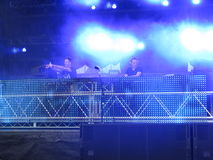 Electronic Dance Music DJs. DJ duo playing at a three day electronic dance music festival Stock Photos