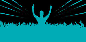Electronic dance music festival with dancing people Royalty Free Stock Photo