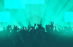 Electronic dance music festival with dancing people. Hands up and glowing lights. Creative illustration Royalty Free Stock Photos