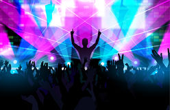 Electronic dance music festival with dancing people hands up. Electronic dance music festival with silhouettes of happy dancing people with raised up hands Stock Photos