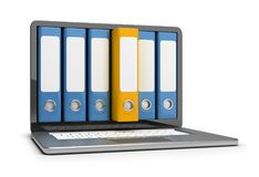 Electronic data file archive. Archive folders on the laptop screen. 3d image. White background stock illustration