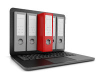 Electronic Data File Archive Search. One Red Binders Coming Out from a Laptop Computer Screen 3D Illustration on White Background Stock Photography