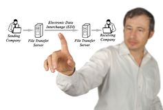 Electronic Data Interchange EDI. Man presenting Electronic Data Interchange EDI Stock Photos