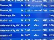 Electronic departures board in Stewart Airport 2018 stock photography