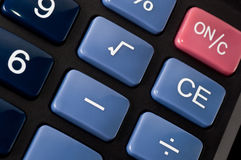 Electronic desk calculator. With blue and red keys for accounting or mathematical calculations Stock Images