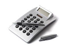 Electronic desktop calculator and ballpoint pen Royalty Free Stock Image