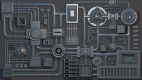 Electronic details, parts, tubes and wires. 3D render texture. Electronic details, parts, tubes and wires. 3D rendered texture. Excellent for texturing royalty free illustration