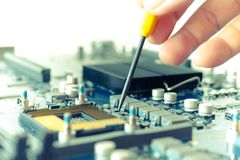 Electronic device computer hardware motherboard royalty free stock photos