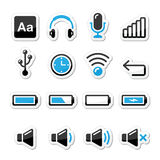 Electronic device / Computer software icons set as labels Stock Photos