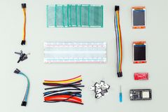 Electronic device on gray background. Flat lay stock photography
