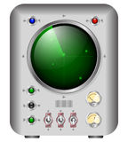 Electronic device with a green screen similar to radar or oscilloscope. Electronic device with a green screen similar to radar or old oscilloscope Stock Image