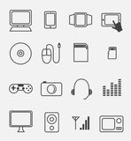 Electronic device and household icon set Stock Photos