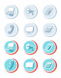Electronic device icons in cartoon style Stock Image