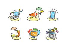 Electronic device icons in cartoon style. Devices include set of communication icons megaphone computer laptop smartphone data information calling monitor and vector illustration