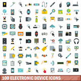 100 electronic device icons set, flat style. 100 electronic device icons set in flat style for any design vector illustration Stock Photography