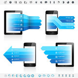 Electronic Device Infographics. A Template set for infographics banners combined with Generic electronic Devices Royalty Free Stock Photography