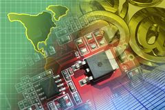 Electronic device and map. Abstract computer background with electronic device and map stock photography