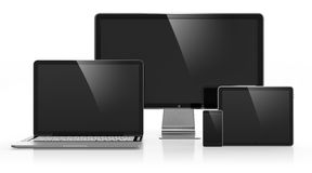 Electronic devices. 3D illustration of electronic devices on white stock illustration