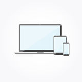 Electronic devices with blank screens. Laptop, smartphone. Flat design vector illustration Royalty Free Stock Image