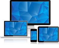 Electronic Devices with blue screen Stock Photos