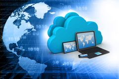 Electronic Devices with cloud server. 3d render of Electronic Devices with cloud server royalty free illustration